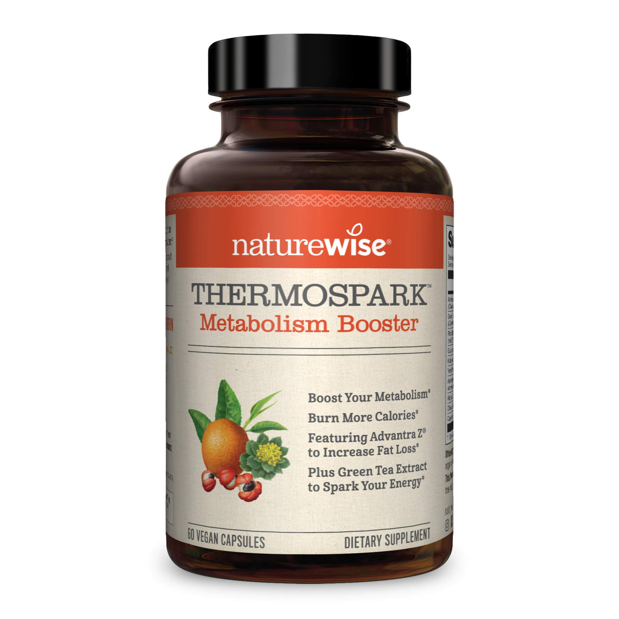 NatureWise Thermo Blend Metabolism Booster | Natural Thermogenic Fat Burner Appetite Suppressant & Weight Loss Pills for Men & Women | Green Tea Extract & Bitter Orange, Vegan, & Gluten Free [1 Month]