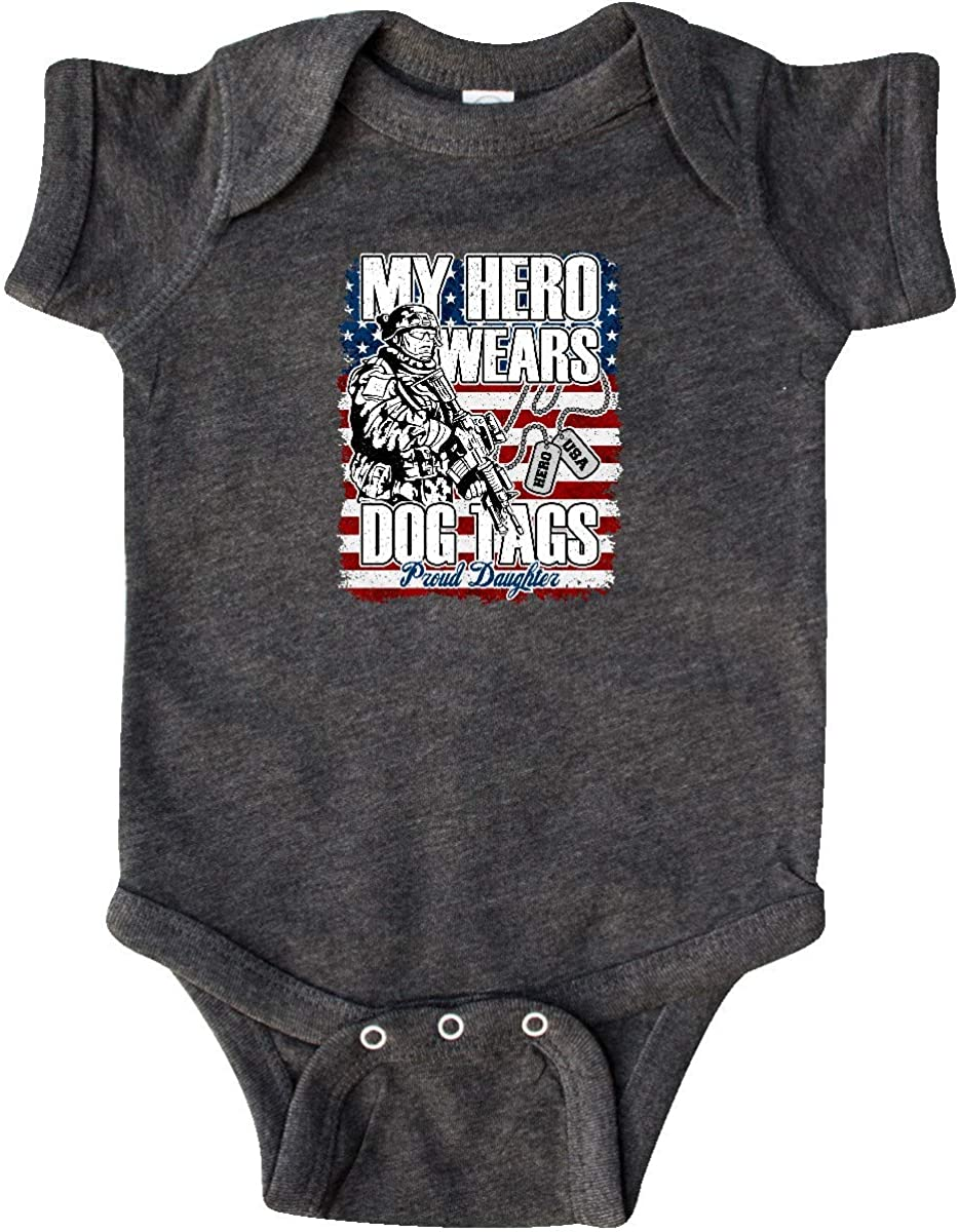 inktastic Military Proud Daughter Hero Wears Dog Tags Girls Infant Creeper