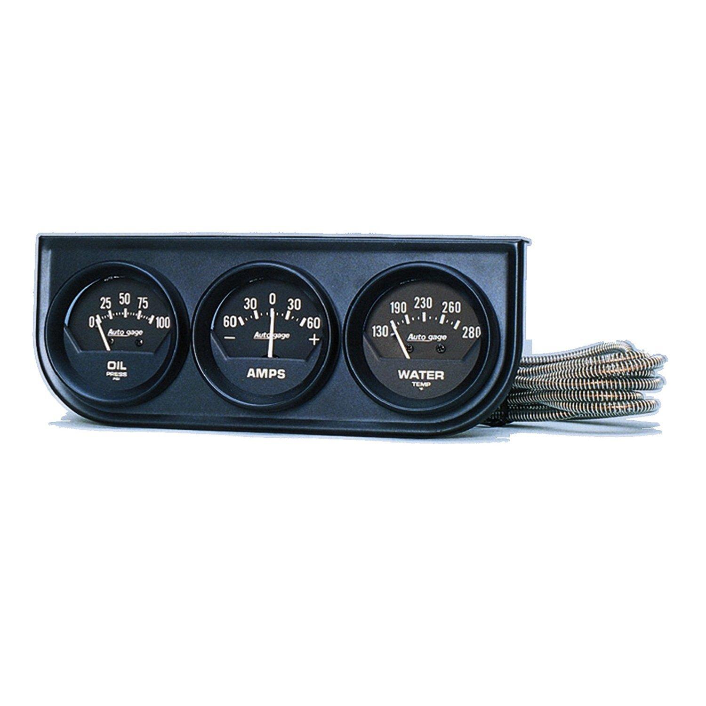 Auto Meter 2347 Autogage Black Console Oil/Amp/Water Gauge