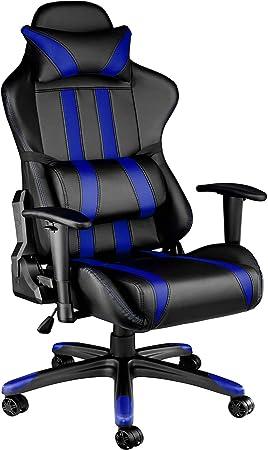 TecTake Silla de oficina ergonomica racing gaming con soporte lumbar - disponible en diferentes colores - (negro azul | no. 402031): Amazon.es: Juguetes y juegos