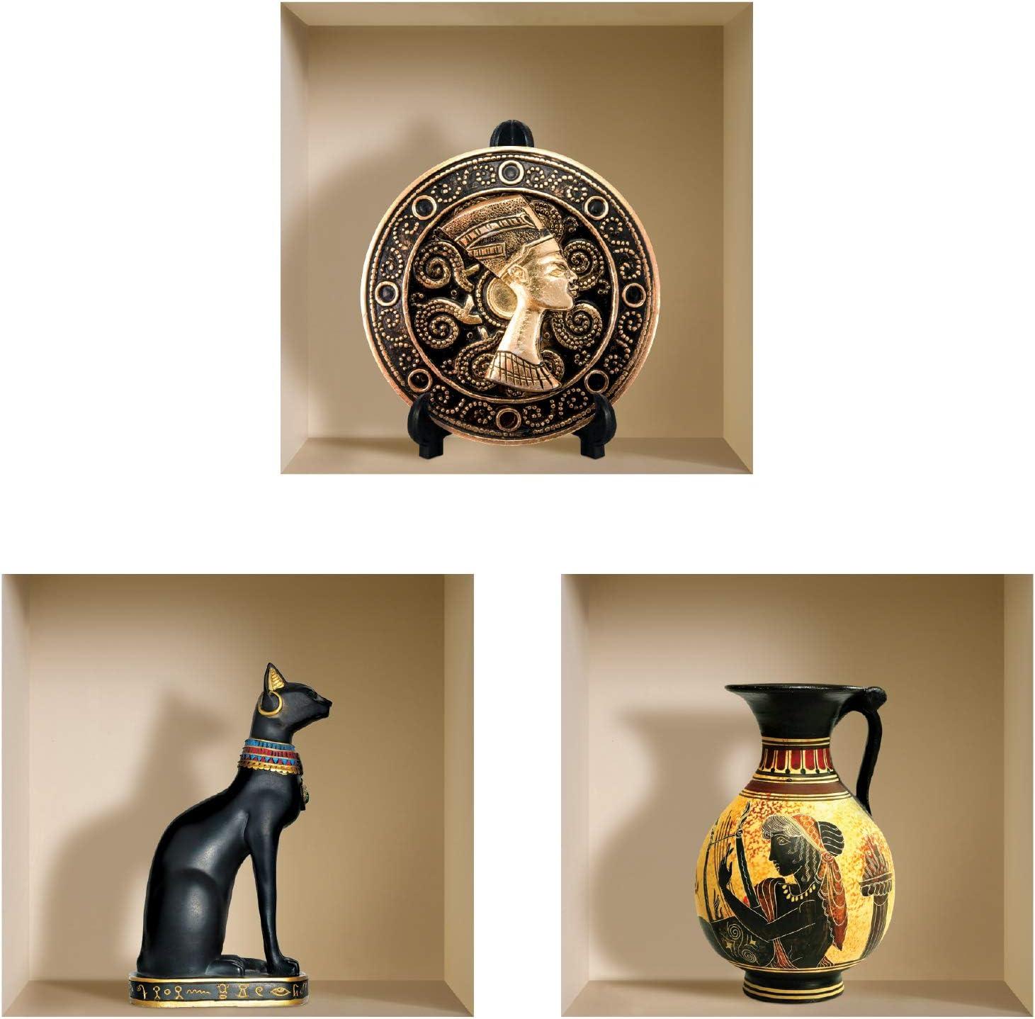 the Nisha Art Magic 3D Vinyl Removable Wall Sticker Decals DIY, Set of 3, Black Egyptian