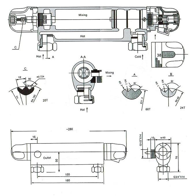 Auralum® Mezclador de ducha termostático para ducha Grifería para bañera para baño: Amazon.es: Bricolaje y herramientas