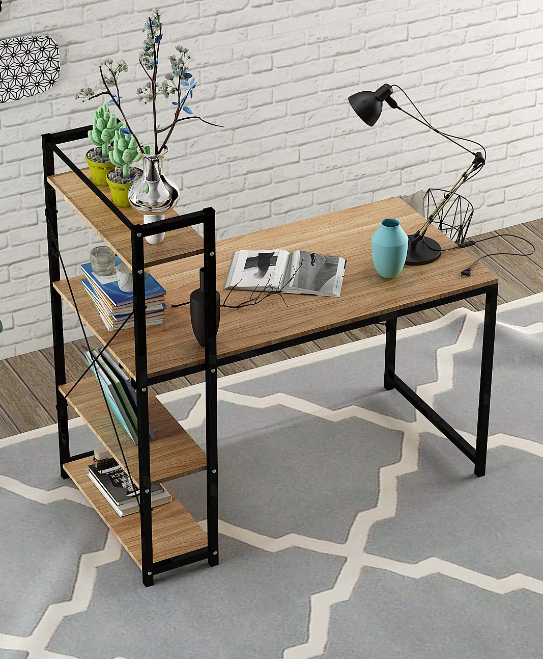 Computer Desk,Modern Style Office Workstation,Home Wood & Metal - ★L-SHAPED CORNER DESIGN - Wrap-around style provides plenty of surface space for home and office work-related or gaming activities. It creates a look that is both attractive and simple. This desk applies to any room and is a great compliment to any home office.The L-shaped design also offered storage space under the corner desk. ★STRONG AND DURABLE - Steel frame construction is sturdy and durable, which provides a strong support.The computer desk is built with a stable and powder-coated steel frame and long-lasting MDF material in a wood . ★HIGH-QUALITY MATERIAL - The home office desks is made of P2 eco-friendly class particle board and thicker steel. The thicker steel desk legs will decrease shake, which makes the desk more stable and secure. The surface of this desk is special, it is lightly textured so it can act as a smooth mouse pad perfectly. At the same time it prevents things for sliding around or falling off your desk easily. - writing-desks, living-room-furniture, living-room - 71Q ecE6 DL -