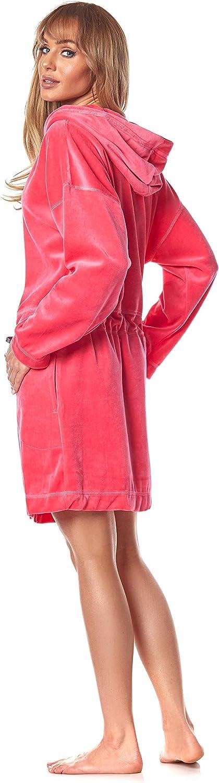 9118 Peignoir avec Fermeture Eclair Peignoir Doux Chaud et Court pour Femmes L/&L Robe de Chambre Zipp/ée /à Capuche pour Femme.