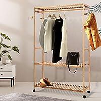 Artiss Bamboo Garment Rack with Wheels, 112.5(L) x 35(W) x 165(H)