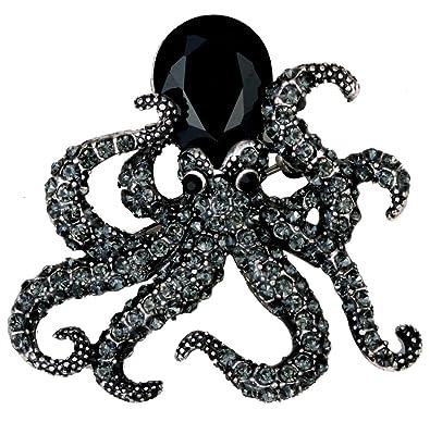 Loveangel Jewellery Womens Crystal Octopus Pin Brooch 7fkDt5