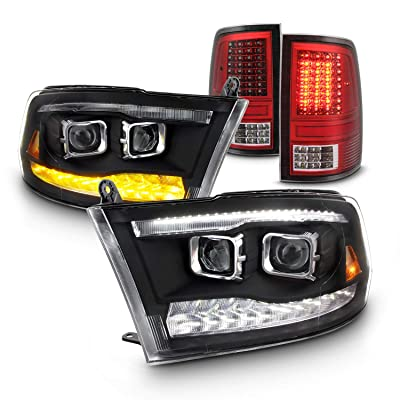 Fit 09-18 Dodge Ram 1500 2500 3500 Premium Projector LED Headlight |Red Housing Tail Light Combo: Automotive