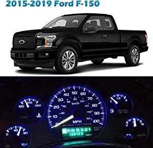 Partsam Speedometer Indicator LED Light Kit Instrument Panel Gauge Cluster Dashboard LED Light Bulbs Replacement for Ford F-150 2015 2016 2017 2018 2019 - Blue 10Pcs