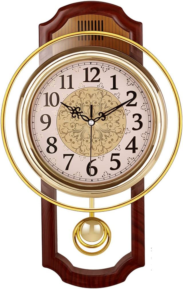 Nclon Europeo Reloj de Pared,Silencioso sin Ruidos Creativo Sala de Estar Dormitorio Retro Swing Cuarzo Reloj de Pared-C 43*27cm