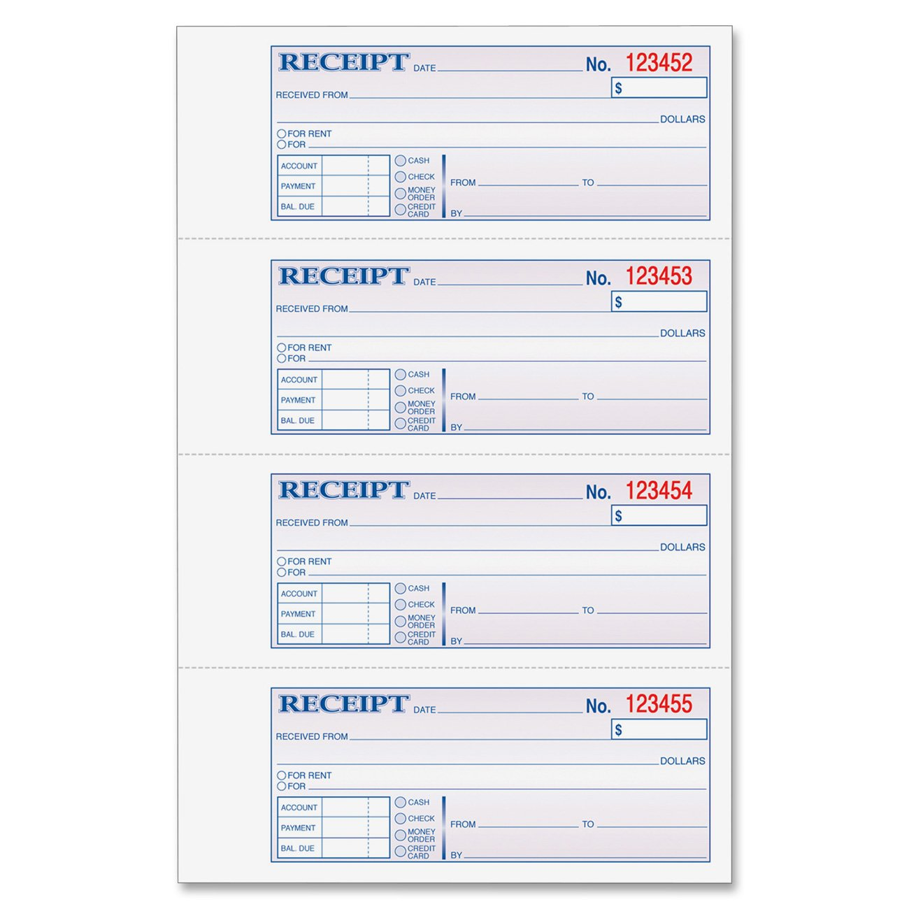 Amazon Adams Money and Rent Receipt Book 3Part Carbonless – Room Rental Receipt