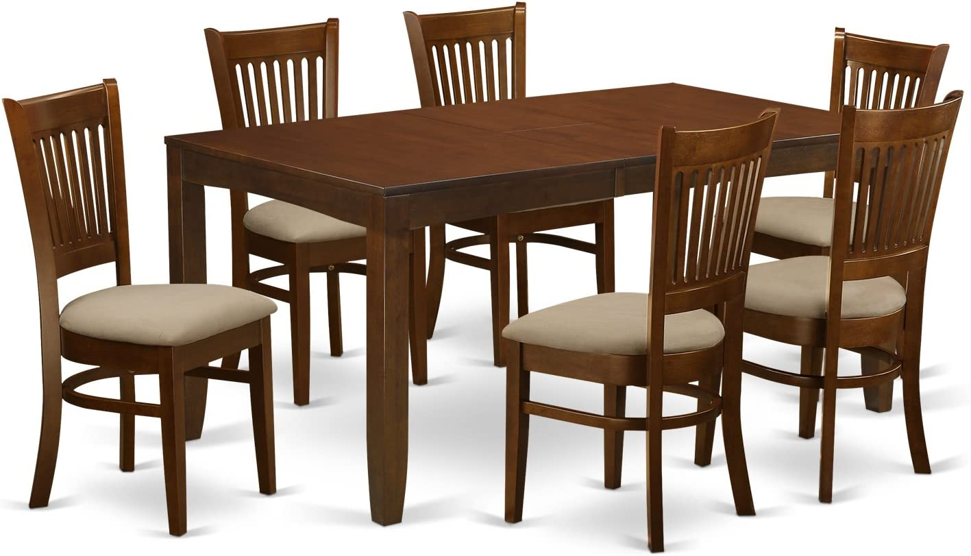 LYVA7-ESP-C 7 Pc Dining Table with a 12 Leaf and 6 Cushion Kitchen Chairs