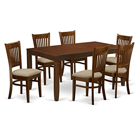 East West Furniture LYVA7-ESP-C 7 Piece Lynfield Dining Table with One 12 Leaf and Six Cushioned Seat Kitchen Chairs in Espresso