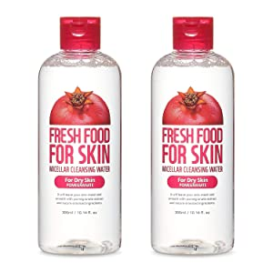FARMSKIN Fresh Food For Skin Micellar Cleansing Water Face Cleansing Makeup Remover for Dry Skin Pomegranate (Pack of 2), 20.28 Fl Oz