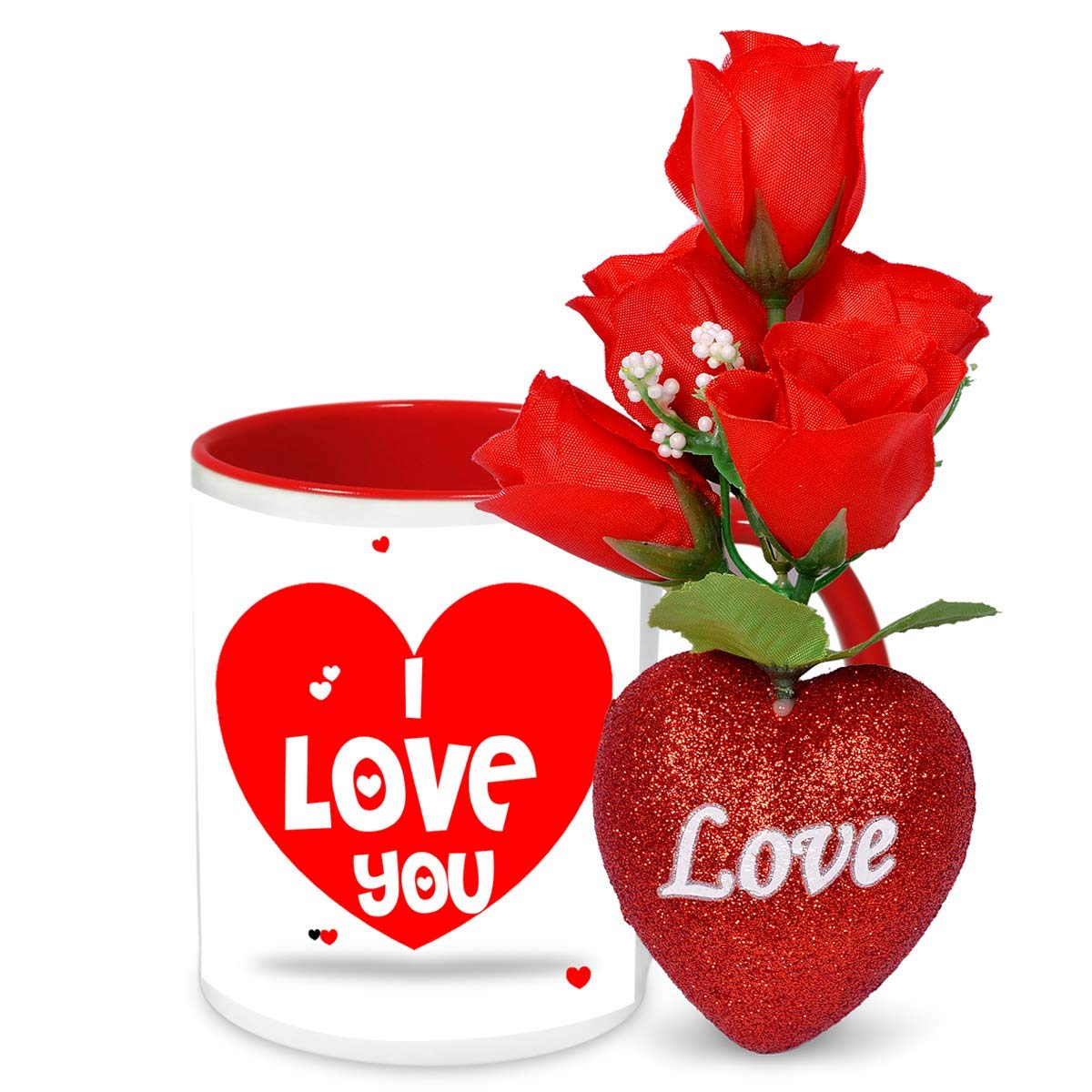 Alwaysgift Ceramic I Love You Valentines Day Mug With 5 Roses Heart Multicolour Amazon In Home Kitchen