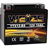 Weize YTX12-BS Motorcycle Battery High Performance - Maintenance Free - Sealed YTX12 BS AGM Rechargeable ATV Batteries compat