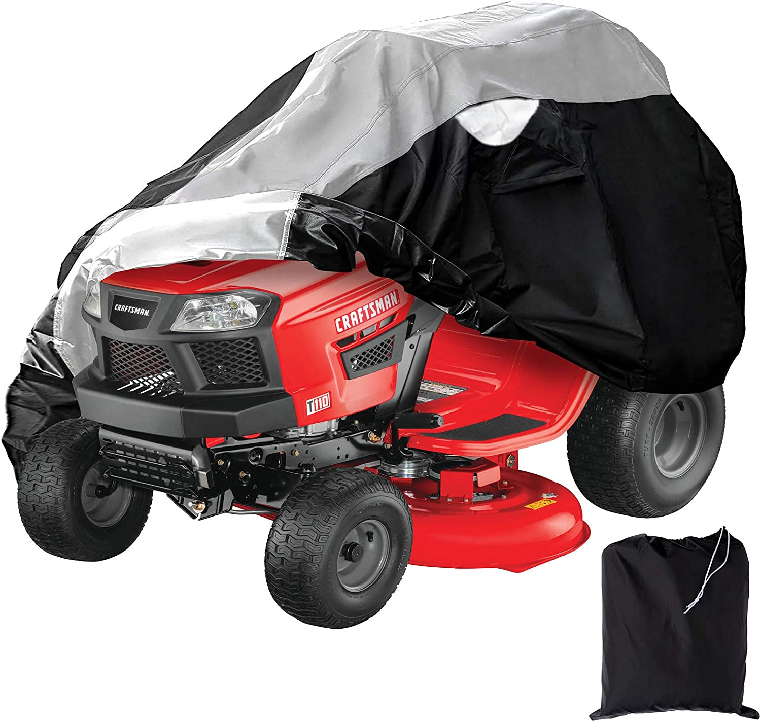 """Coverify Outdoors Lawn Mower Cover Heavy Duty Waterproof 300D Oxford Fabric, Universal Fits Decks up to 54"""" Lawn Tractor Cover, Black&Silver Color"""