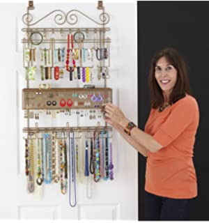 Longstem Overdoor Wall Jewelry Organizer In Bronze   Holds Over 300 Pieces.  Unique Patented Product