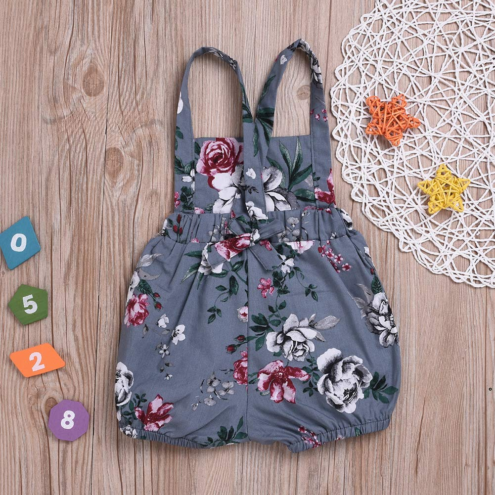 Baby Girls Cute Romper Flowers Printed One Piece Jumpsuit Fashion Babysuit Clothes Set