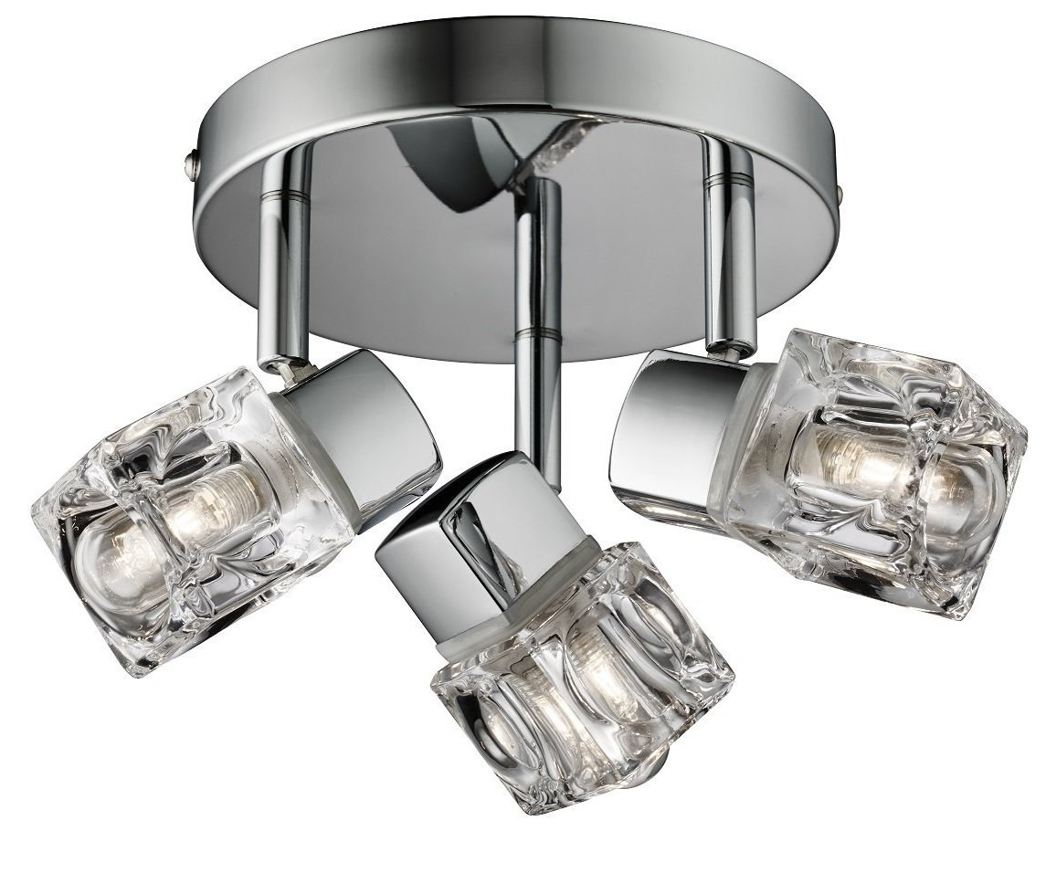 Marco Tielle Modern Chrome Finished Ice Cube 3 Way Ceiling Light Spotlight Bathroom Fitting IP44 Rated