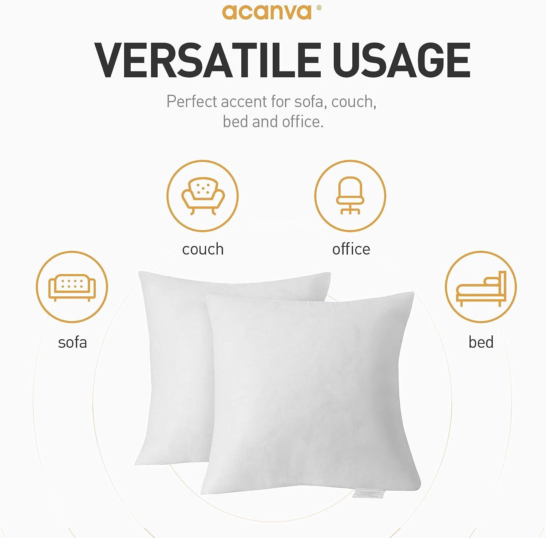 Acanva Basic Poly Pillow Insert Form Sham Cushion Square 18 L X 18 W Set Of 2 Amazon Ca Home Kitchen
