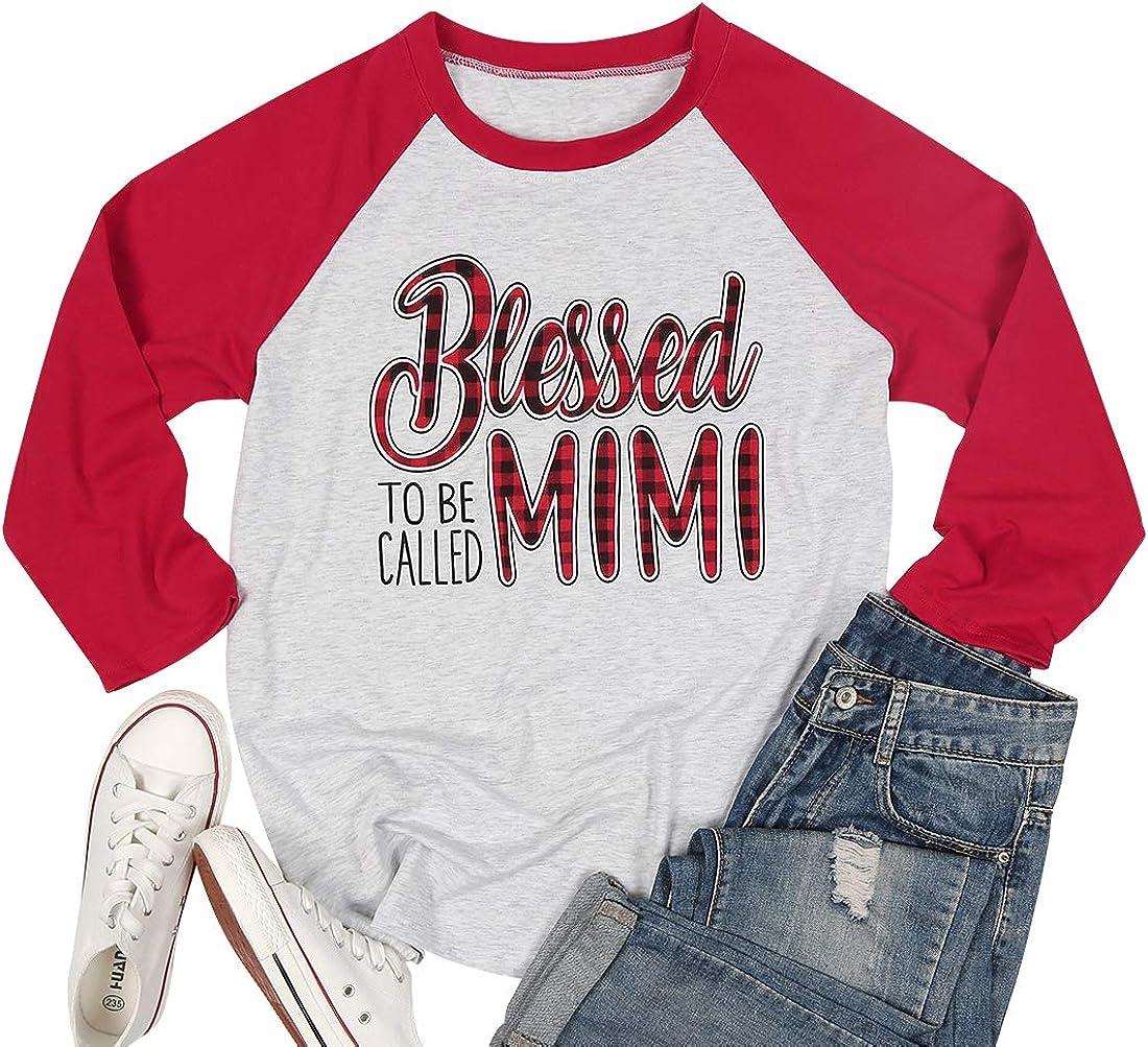 Blessed to Be Called Mimi Shirt Women Plaid Blessed Mama Tees Shirt Raglan 3/4 Sleeve Grandma Shirts with Sayings