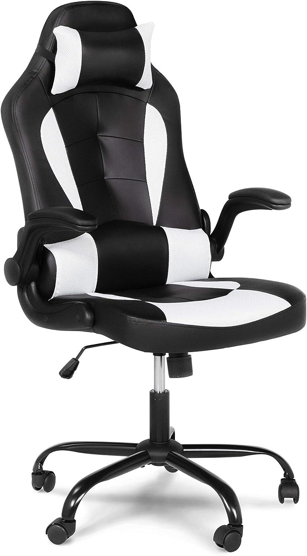 Furniture of America Den Ergonomic Gaming PU Leather Computer Chair, Black/White