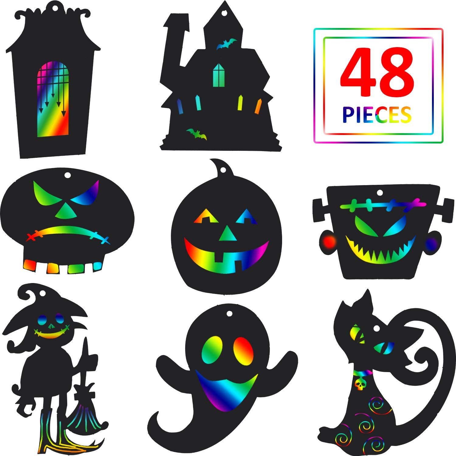Blulu 48 Pieces Halloween Scratch Paper Rainbow Witch Pumpkin Scratch Crafts Kit Magic Halloween Hanging Ornaments Art with Wooden Stick and Rope for Party Decoration DIY Supplies by Blulu