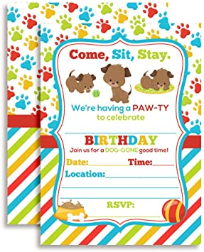 12ct Puppy Themed Birthday Invitations You/'re invited to a Paw-ty 5x7 Size with Envelopes 12 pack INVT-193-FB