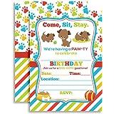 Amazon puppy dog birthday party invitations 20 count with puppy dog paw ty birthday party invitations ten 5x7 fill in filmwisefo