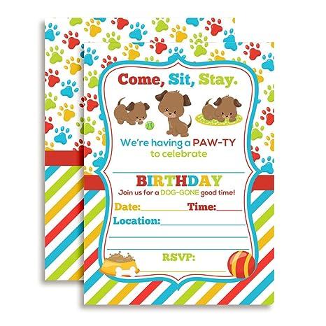 Amazon Com Puppy Dog Paw Ty Birthday Party Invitations 20 5 X7