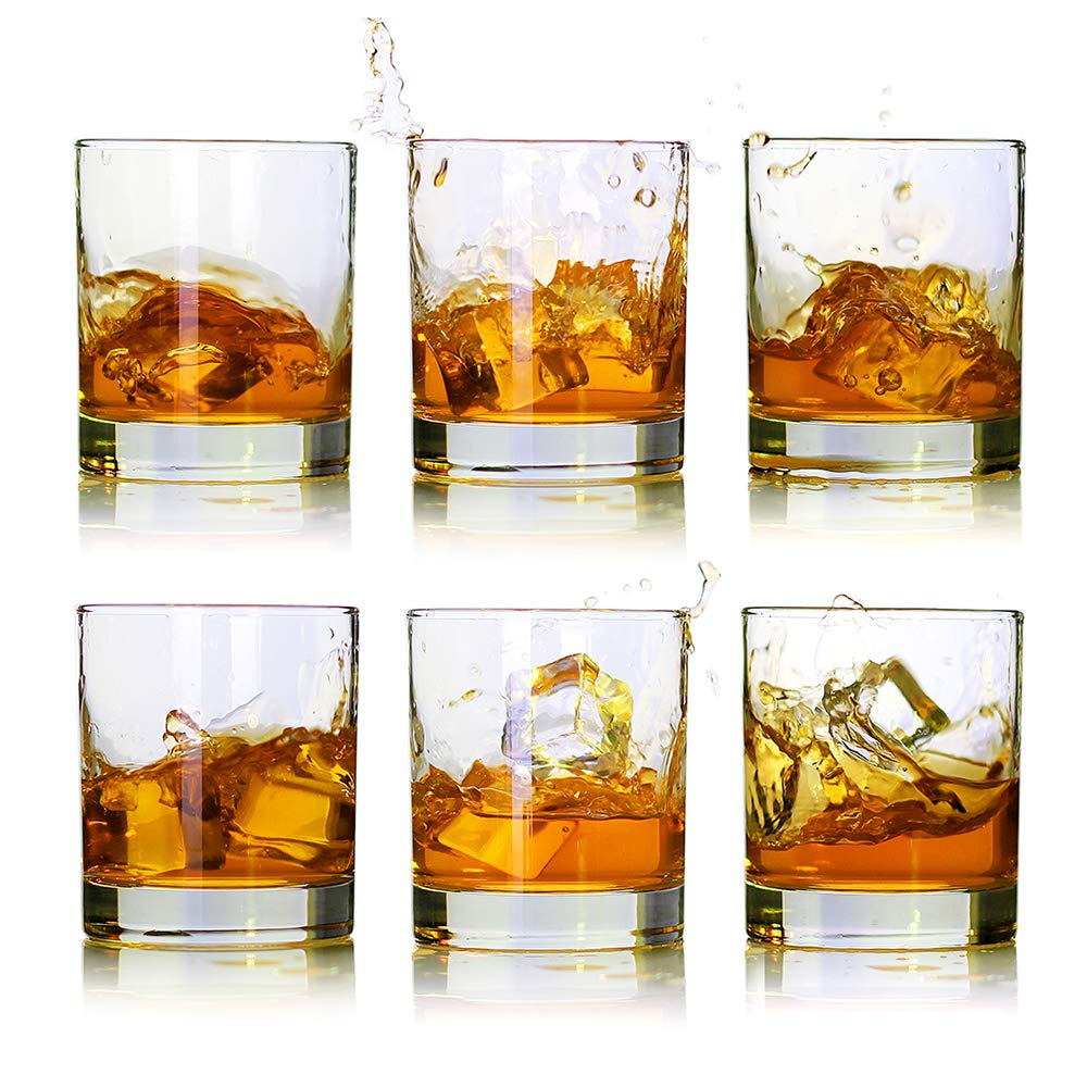 Whiskey Glasses,Premium 11 oz Scotch Glasses Set of 6 /Old Fashioned Whiskey Glasses/Perfect Gift For Scotch Lovers/Style Glassware for Bourbon/Rum glasses/Bar whiskey glasses,Clear
