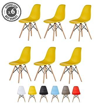 Amazonde Mcc Kunststoffstühle Mit Holzbeinen Eiffelturm Design