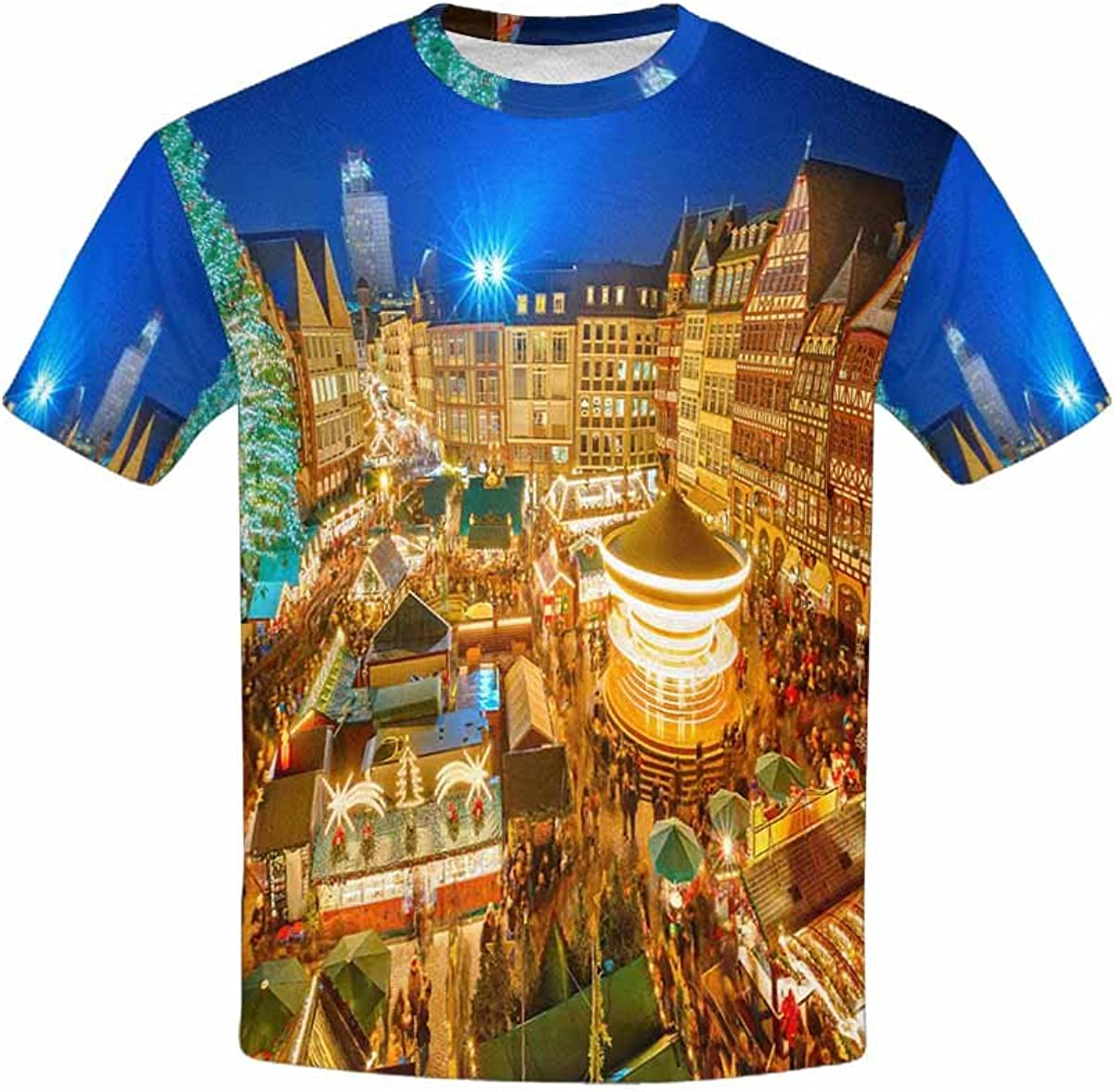 INTERESTPRINT Childs T-Shirt Traditional Christmas Market in The Historic Center of Frankfurt XS-XL