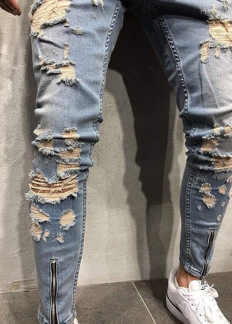 Yaolor Men Ripped Skinny Zipper Distressed Holes Jeans Jogger Denim Pants