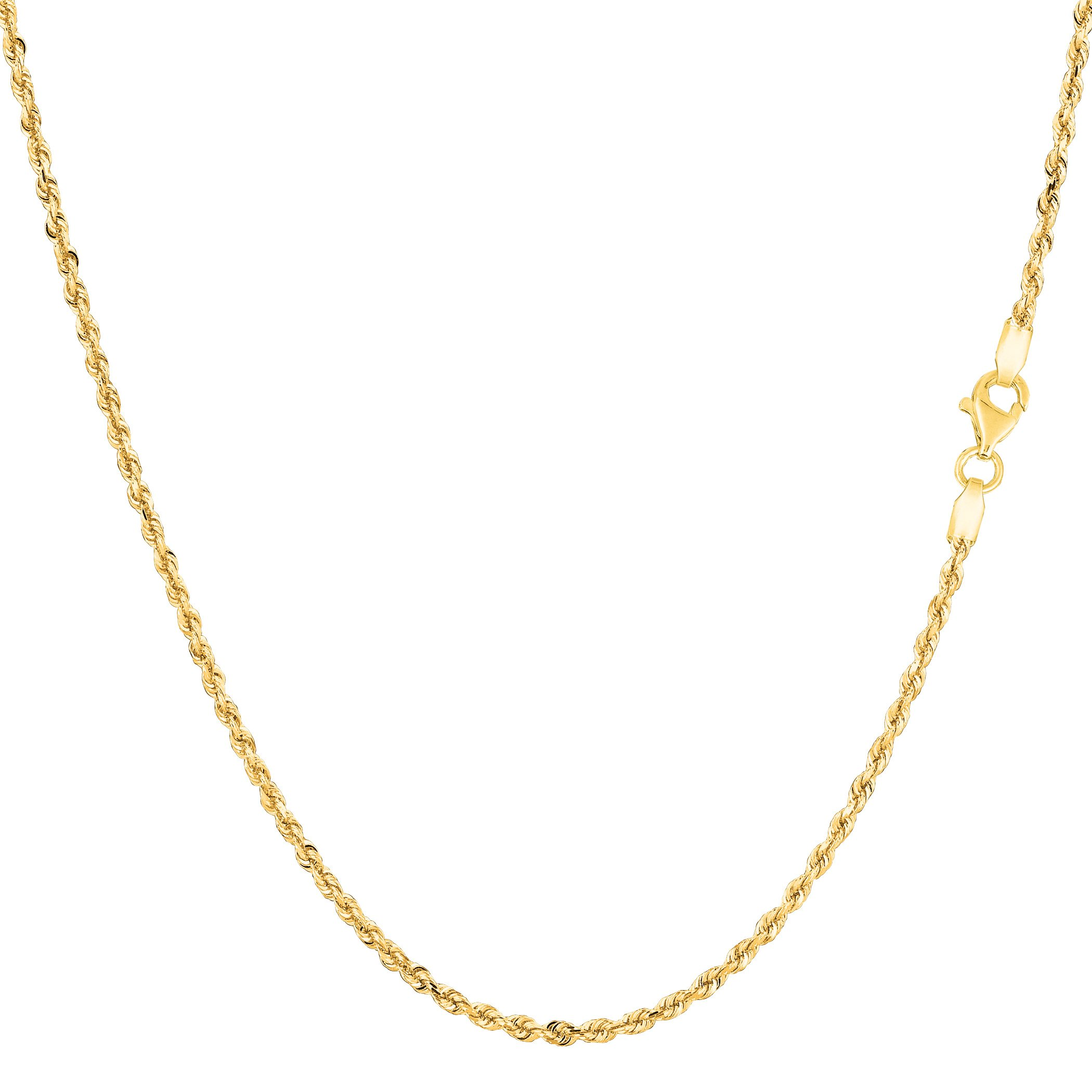 14k Yellow Solid Gold Diamond Cut Rope Chain Necklace, 1.25mm, 20''