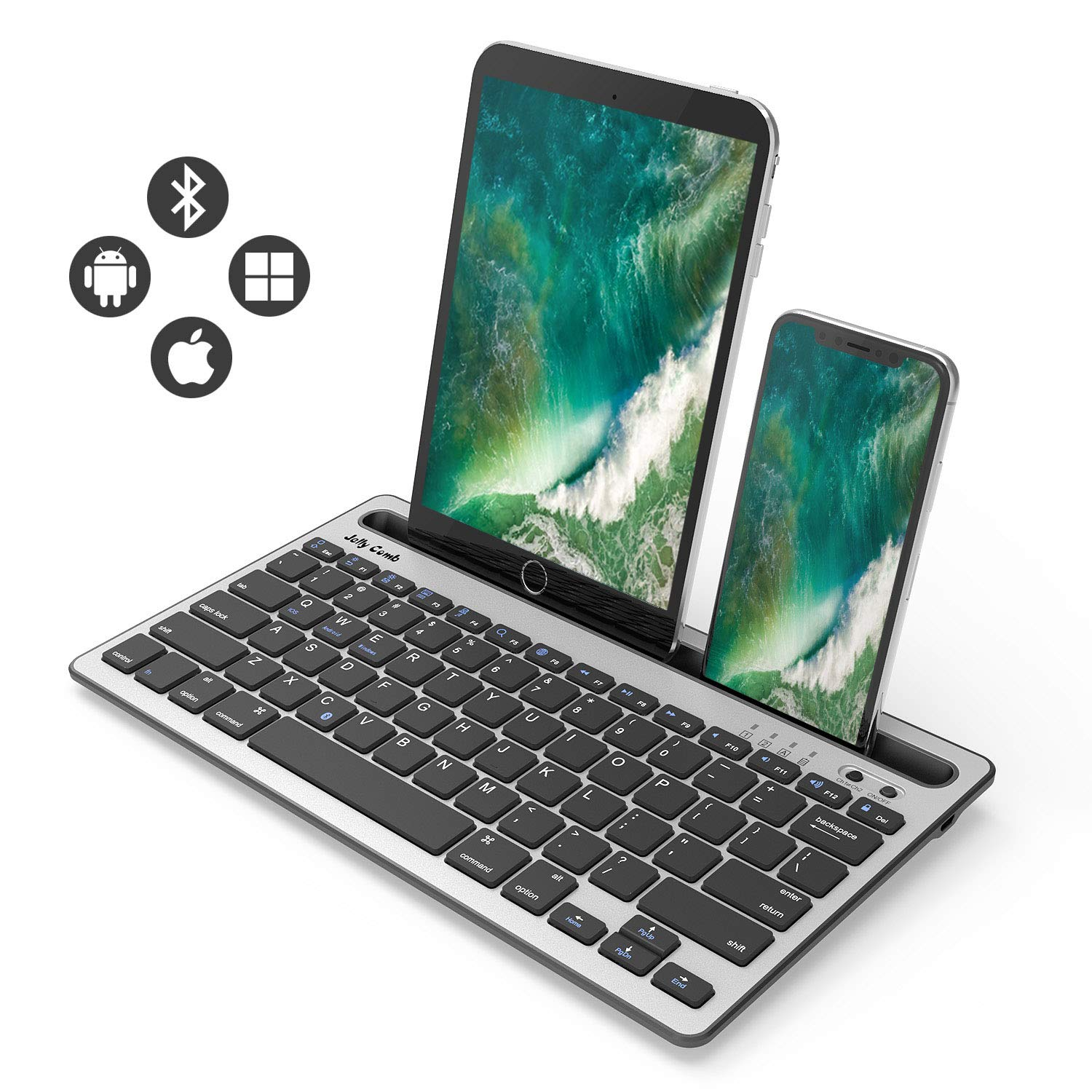 Bluetooth Keyboard, Jelly Comb BK230 Dual Channel Multi-Device Universal Wireless Bluetooth Rechargeable Keyboard with Sturdy Stand for Tablet Smartphone PC Windows Android iOS Mac (Black and Silver)