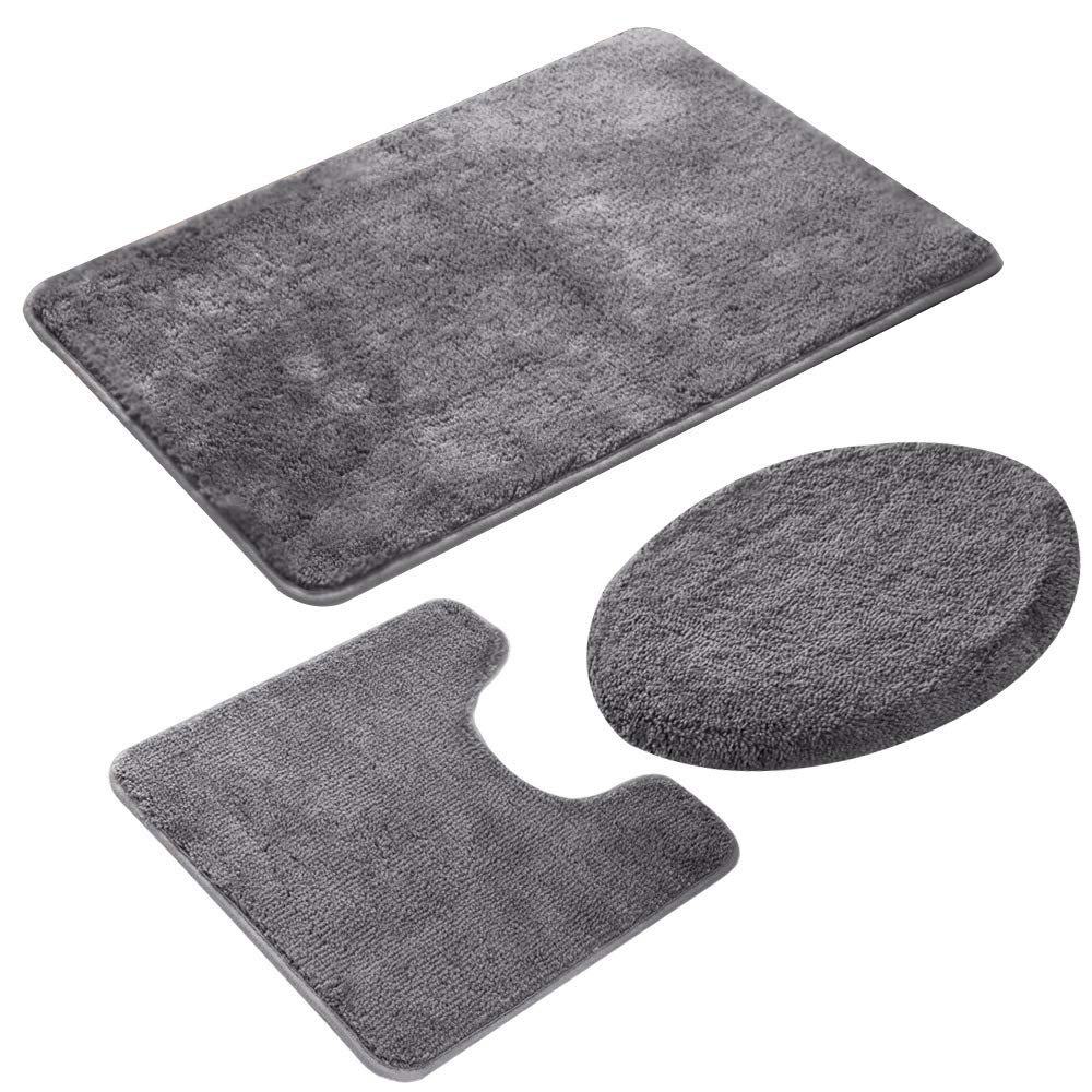 Bath Mat Sets Bathroom Non Slip 3 Piece Bathroom Rug Set Shower Bath Rugs, Lid Toilet Cover Contour Mat Backside Non-Slip Pedestal Extra Luxury Soft Large Memory Foam (Grey)