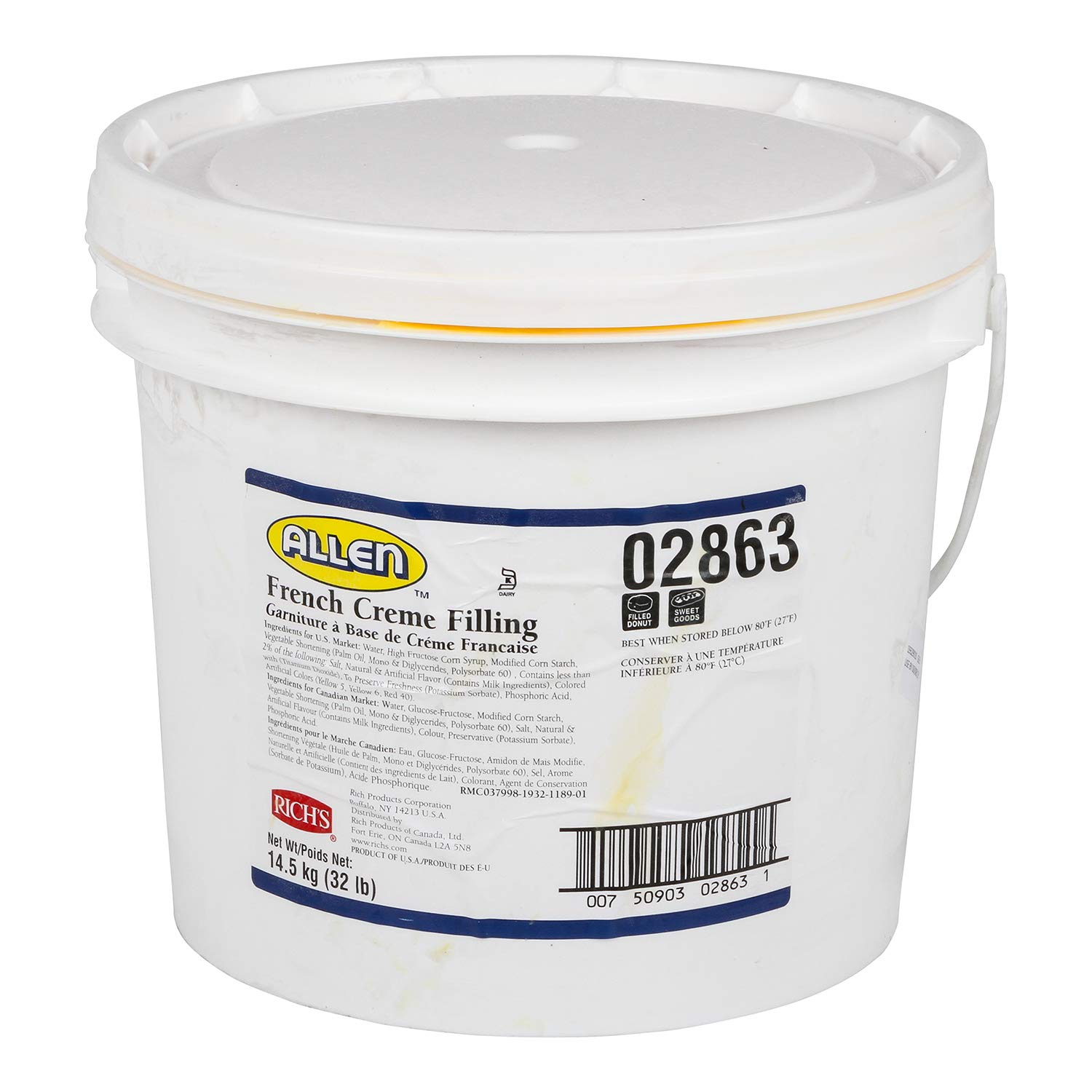 Rich's JW Allen French Creme Filling, Perfect for Pastry, 32 lb Pail