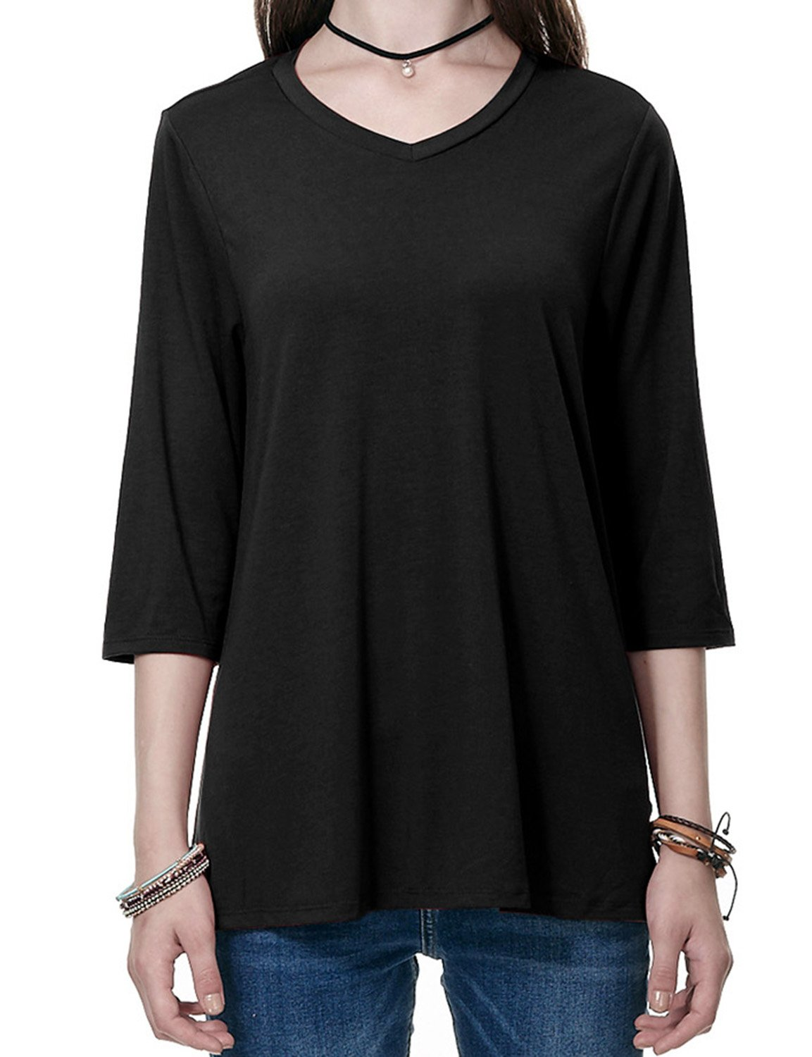 Regna X Boho for Woman Loose fit wear to Work Long Shirts Black Extra Large Pleat Back Shirts Shirt Long tee Tunics Blouses
