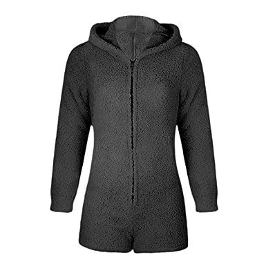 3a7135734 W. DRIZZLE Women Onesie Cute Fleece Pajamas Long Sleeve Zip Up Hoodie and  Shorts Sleepwear