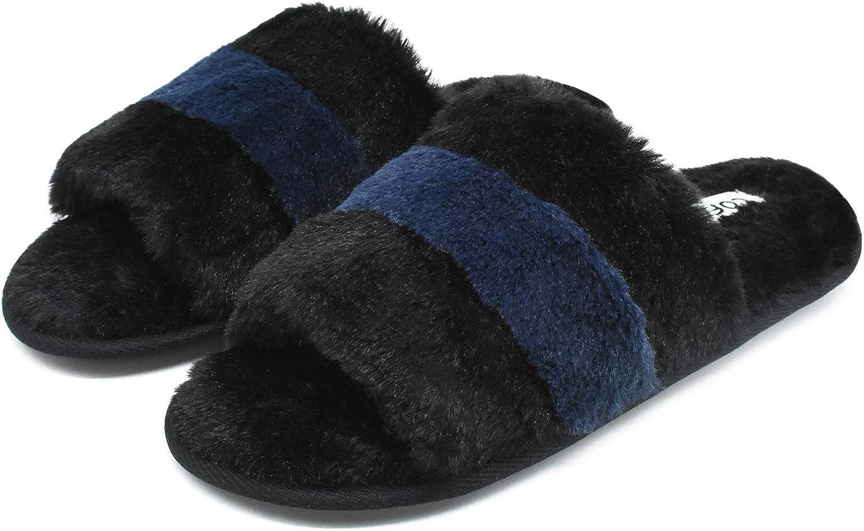COFACE Women's-Fluffy-Sliders-Faux-Fur-House-Slippers Soft Open Toe Furry Slide Slippers Ladies Warm Fleece Lined Plush Bedroom Slippers Indoor Cozy
