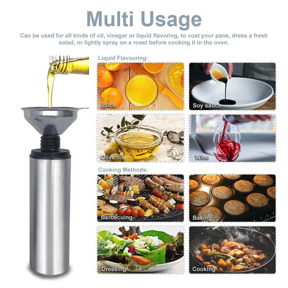 Oil Sprayer for Cooking Olive Vinegar Bottle EMSIN Bbq Air Fryer Making Salad Refillable Essential Oil Non Aerosol Clog Free Pressure Pump Dispenser Stainless Steel Olive Oil Bottle Sprayer by EMSIN (Image #4)