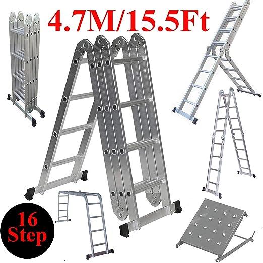 ZhanGe - Escalera de andamio plegable de aluminio de alta resistencia de 15.5 pies con escalera de