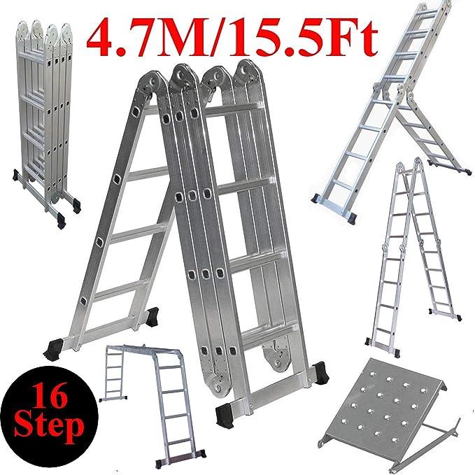 ZhanGe - Escalera de andamio plegable de aluminio de alta resistencia de 15.5 pies con escalera de 4 peldaños para pintar escaleras y escaleras plegables con 1 placa de herramientas de 330