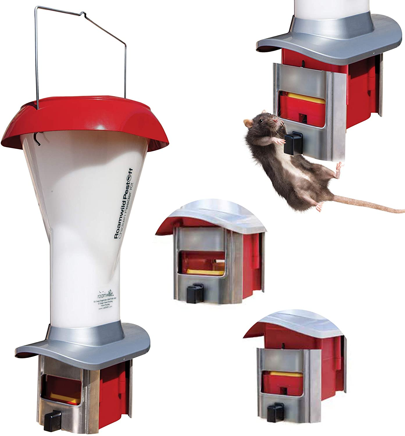 Roamwild Rat Proof Chicken Feeder kit - Rat Proof Poultry Feeder – Weather Proof - 8lbs Capacity - NEW PRODUCT