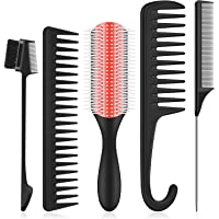 5 Pieces Hair Brush Set, 9-Row Cushion Nylon Bristle Brush, Hair Edge Brush, Detangler Wide Teeth Combs, Teasing Comb…