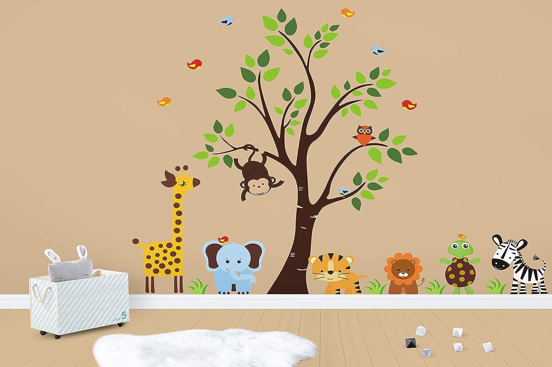 amazon com wall decals for baby room safari and jungle themedamazon com wall decals for baby room safari and jungle themed removable and reusable wall stickers kids nursery children\u0027s wall decals baby room