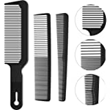 3 Pieces Barberology Comb Set Clipper Flattop Barber Comb Taper Combs and Heat-Resistant Fiber Cutting Comb for Men…