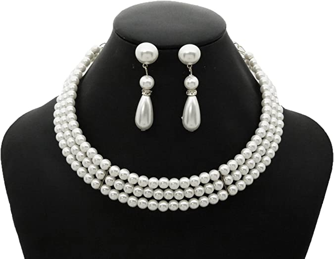 Pearl Detailed off white Lace Choker Necklace Vintage Cute Pretty Glam Wedding