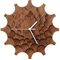 Cogwheel Walnuß - 29cm moderne Wanduhr aus Walnuß-furniertem Sperrholz